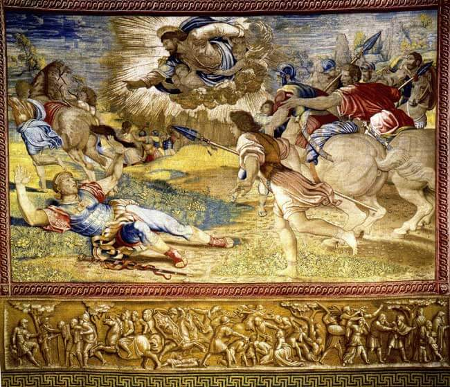 Raphael Sanzio da Urbino, The Conversion of Saul, (St Paul), c. 1519. Tapestry part of the collection at Vatican Museum
