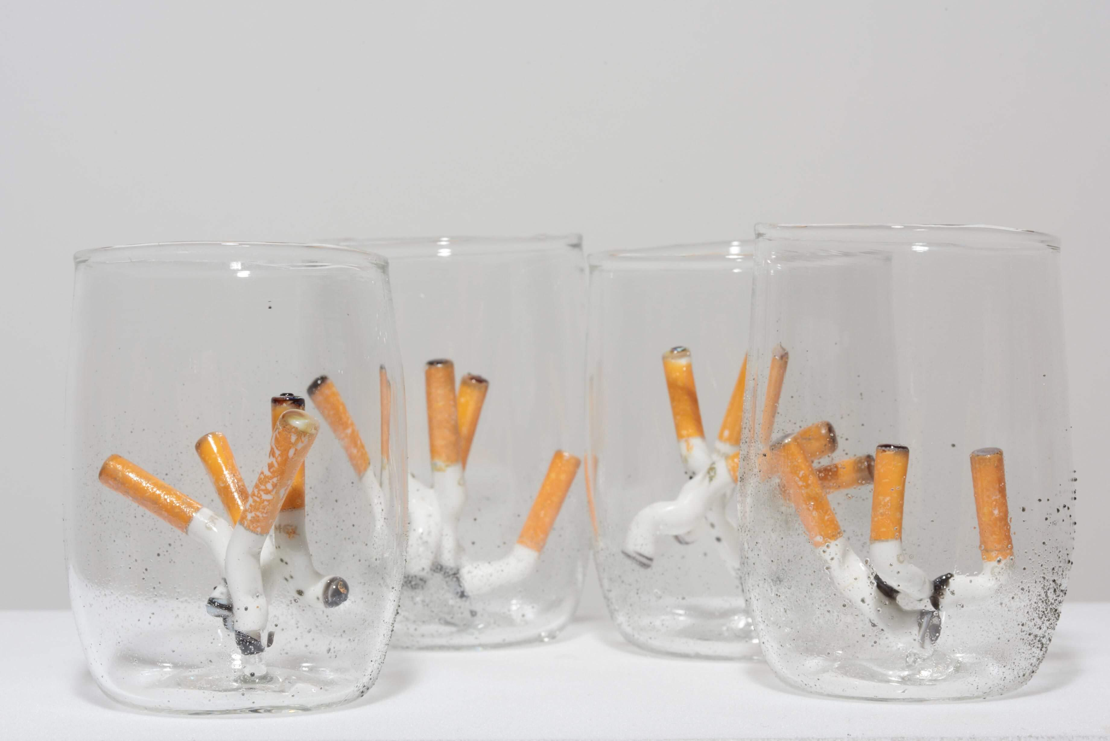 Phillipa Horan, The Bottom of the Butt Tastes Better after Wine (2015) Handblown glass, glass cigarettes