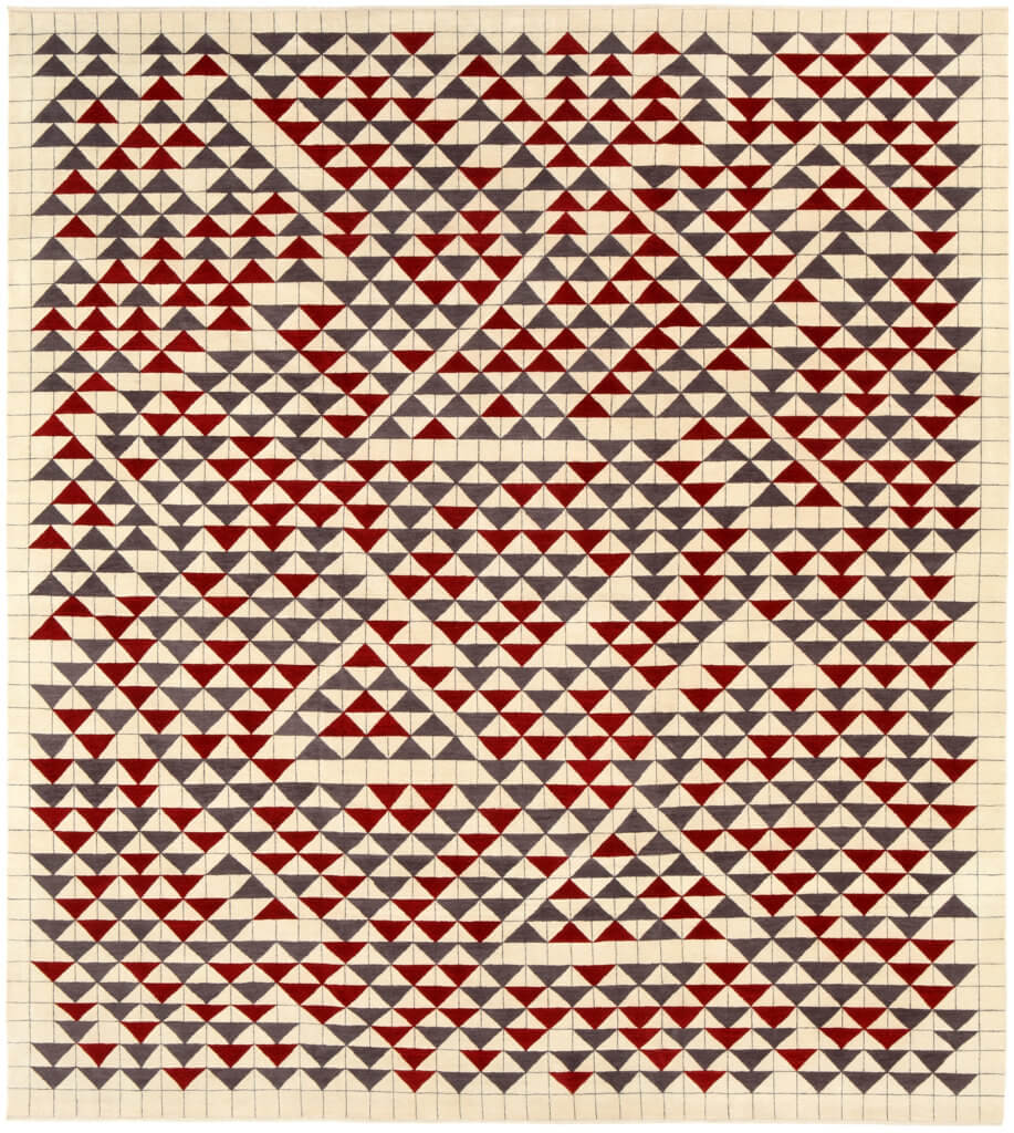 Annie Albers, Camino Real rug. From Study For Camino Real, 1967 Gouache on paper. Annie Albers DRXVII rug. Produced by Christopher Farr in an edition of 10 in association with the Josef & Anni Albers Foundation.