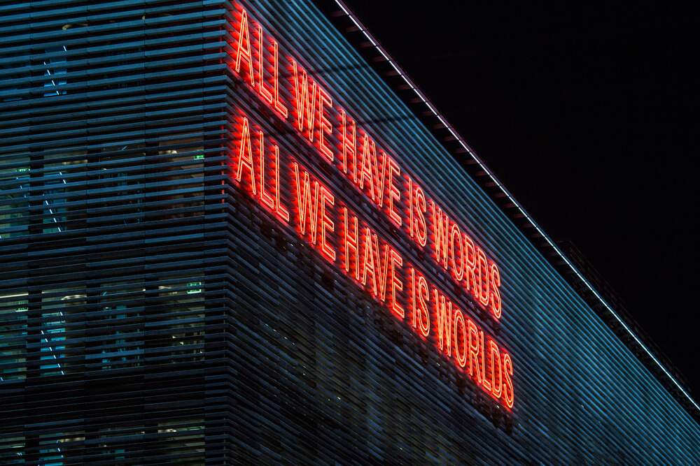 Tim Etchells, All We Have (Double Line), 2016 Neon Image Courtesy of Nicolas Mastoras