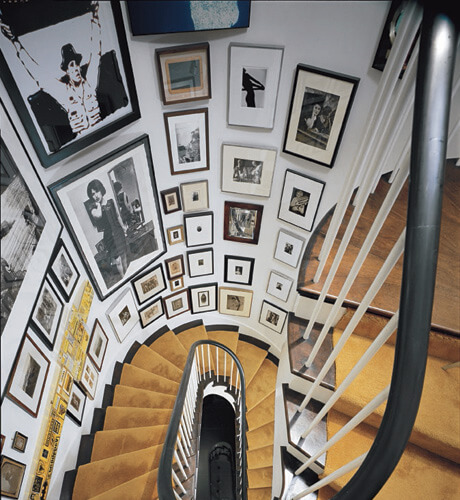 Curved staircase art wall