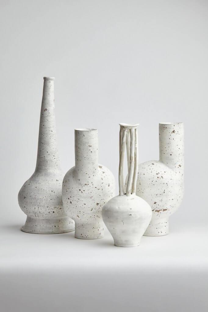 Matthias Kaiser, Pot, Ceramics, sculpture, vessels, texture, white