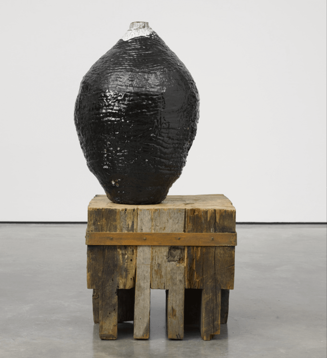THEASTER GATES Tarred Vessel, 2015 Cotton, metal, glazed clay, plastic, tar, Ceramics, sculpture, vessels, texture